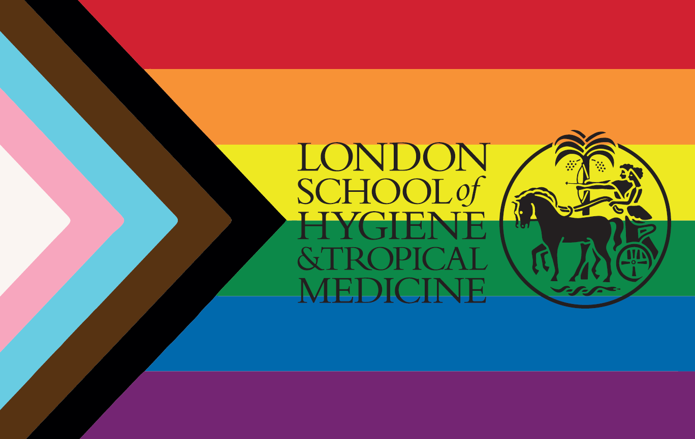The progress flag with the LSHTM logo. The progress flag is the LGBTQ+ rainbow flag with black and brown stripes and trans flag stripes.
