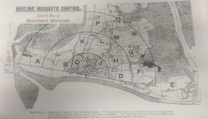 Map of Hayling Island showing mosquito breeding zones