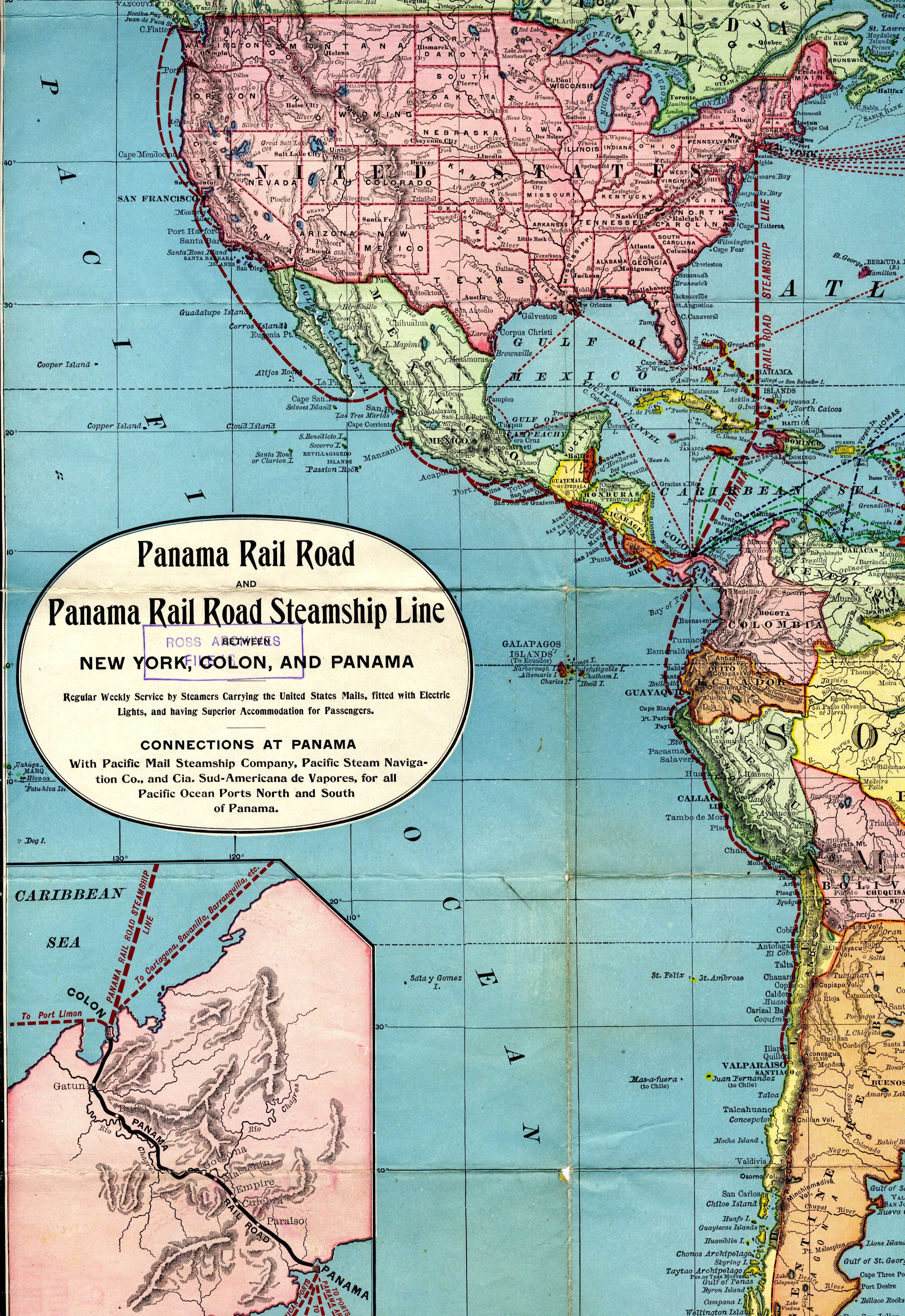 Map-of-NS-America-showing-Panama-Rail Panama C On A Map Of South America on tierra del fuego on a map of south america, new granada on a map of south america, lake titicaca on a map of south america, amazon basin on a map of south america, amazon river on a map of south america,