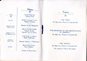 Menu and toast list for Rockefeller Foundation Dinner