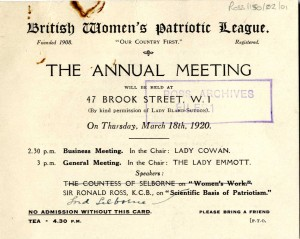 Ticket to the Annual Meeting of the British Women's Patriotic League