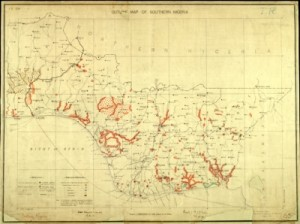 Outline map of Southern Nigeria showing districts [11595]