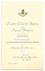 Luncheon Menu foundation stone ceremony