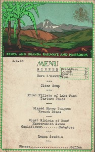 Menu from Leeson's trip to Africa in 1935