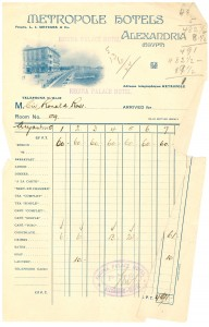 Bill for Sir Ross from the Regina Hotel, Alexandria, 1915