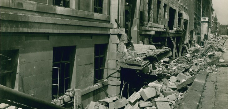 Bomb damage of the east wing of LSHTM, Malet Street