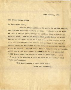 Letter from Sir Ronald Ross, 1919
