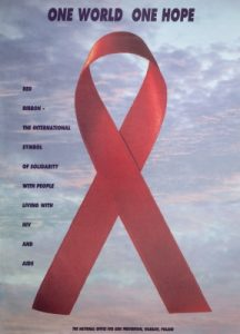 Poster showing the Red ribbon symbol