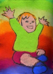 'Yay!' by Alison Meek: Soft pastel on cotton paper, 2018